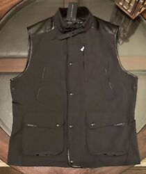 Black Label Gent's Size Large Poly Oxford And Leather Moto Vest New