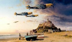 Aces On The Western Front By Robert Taylor Aviation Art Signed By Luftwaffe Aces