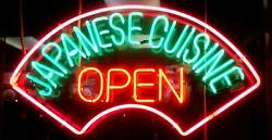 New Japanese Cuisine Open Real Glass Neon Sign 32x24 Beer Lamp Light