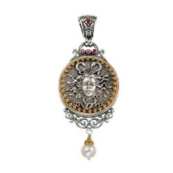 Ancient Greek Medusa For Women's Large Pendant 18k Yellow Gold And Silver 925
