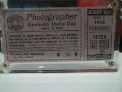 1942 Kentucky Derby Shut Out Photographer Clubhouse Ticket Ladies Not Admitted