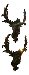 19th Century Antique Patinated Bronze Satirical Mask Wall Lights Sconces - A Pai