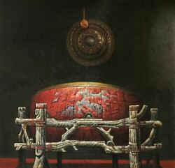 """""""chinese Ceremonial Drum And Gong"""" By Zhang Xing. Signed Original Oil Painting."""