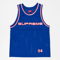 Supreme Ss19 Rhinestone Basketball Jersey Top Tee Camp Box Cap Logo Blue