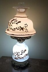 Vintage Antique Cream With White Flower Cased L.g. Wright Consolidated Base Lamp