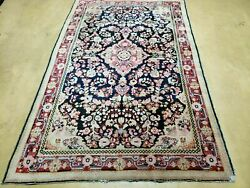 4and039 X 6and039 Antique Hand Made India Floral Oriental Wool Rug Carpet Organic Blue