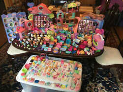 Littlest Pet Shop Huge Lot Over 70 pets 150 accessories playsets wall display