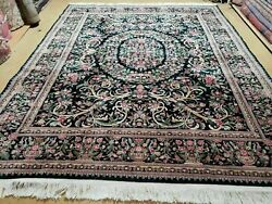 8' X 10' Vintage Hand Made Chinese Floral Oriental Wool Rug Carpet Flowers Green