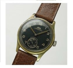 Auguste Reymond German Army Black Dial Small Second 1940's Manual Winding Watch
