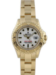 Rolex Ladies Yacht-Master Yellow Gold White Dial - 169628