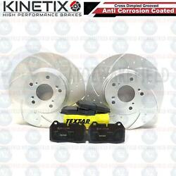 FOR DC5 INTEGRA TYPE R FRONT DIMPLED GROOVED BRAKE DISCS TEXTAR PADS 300mm