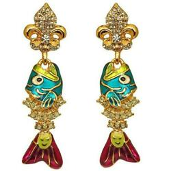 Ritzy Couture Enamel Fish Sticks Fishbone Pave Crystal Clip Earrings Goldtone