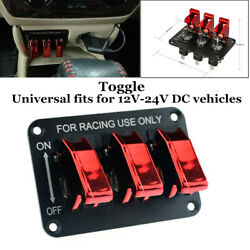 12v 20a Red Led Power 3toggle Switch Panel For Race Car Truck Ignition Fog Light