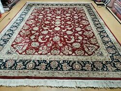 8' X 10' Vintage Hand Made India Floral Wool Silk Accents Rug Organic Veg Dyes
