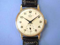 SMITHS Deluxe 9K Gold Small Second Hand Winding Vintage Watch around 1950's