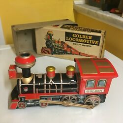 VINTAGE SUNRISE B/O GOLDEN LOCOMOTIVE MYSTERY ACTION/WHISTLE WORKING IN BOX!