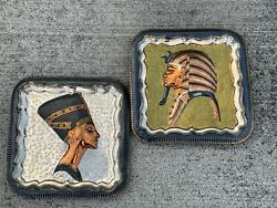 King Tut And Cleopatra Unique Wall Art Sculptures Copper Brass Silver 11/11 ❤️sj3j