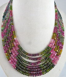 NATURAL MULTI TOURMALINE BEADS FACETED ROUND 7 LINE 670 CARATS GEMSTONE NECKLACE