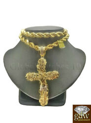 Real 10k Gold Nugget Jesus Crucifix Cross Pendent Charm With 26 Inch Rope Chain.