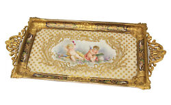 Sevres France Porcelain And Champleve Desk Tray 19th Century. Cherubs