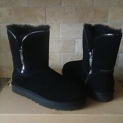 Ugg Classic Short Florence Black Suede Sheepskin Winter Boots Size Us 5 Womens