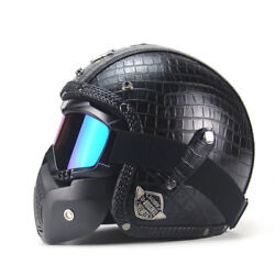 Reliable 1pc Black Motorcycle Helmets 3/4 Open Helmet Pu Leather + Goggle Mask