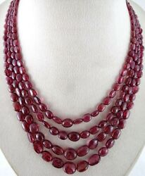 Old Natural Red Spinel Beads Long 4 Line 417 Carats Gemstone Collector Necklace