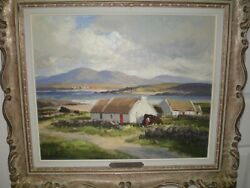 Maurice Canning Wilks Listed Irish Artist Oil on Canvas Cottages Donegal Ireland
