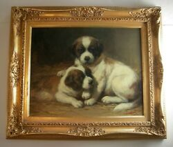 Jean Louis LeFort (1877-1954) PUPPIES Oil on canvas laid to panel painting