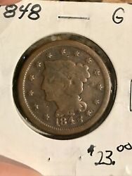 1848 Braided Hair Large Cent Penny