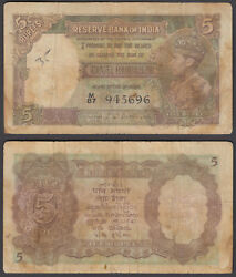 India 5 Rupees 1943 F Condition Banknote P-18b Kgvi W/h
