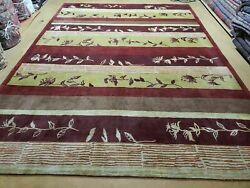 8and039 X 11and039 Tibetan Nepal Art Deco Hand Knotted Wool Rug Modern Contemporary Nice