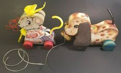Vtg Lot Two 2 Fisher Price Wood Pull String Toy Dog 625 Mouse 62 Usa Works