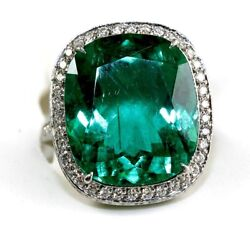 GIA F1 Cushion Cut Colombian Emerald & Diamond Solitaire Ring Platinum 13.17Ct