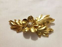 Gold Tone Leaf Brooch with Flower and Pearl and Rhinestones in Center