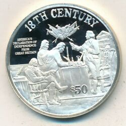 1997 Cook Islands 50 Proof Silver .93 Oz 18th Century-declaration Independence