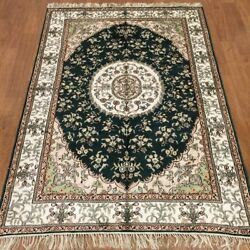 Yilong 4'x6' Parlor Green Handmade Carpets Antique Hand Knotted Silk Rugs 381c
