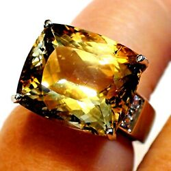 Flawless Big 18.70ct 100 Natural Untreated Imperial Topaz Ring 925 S-ver.6.25