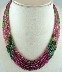 NATURAL MULTI TOURMALINE BEADS FACETED ROUND 5 LINE 289 CARATS GEMSTONE NECKLACE