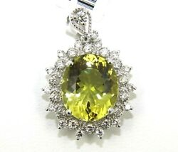 Oval Green Beryl And Diamond Halo Pendant 14k White Gold 7.16ct