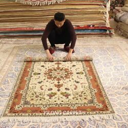 Clearance Yilong 4and039x6and039 Floral Hand Knotted Wool Rug Blanket Woollen Carpet 2052