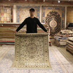 Clearance Yilong 4and039x6and039 Yellow Handmade Wool Rug Room Handcraft Area Carpet 2079