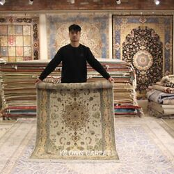 Clearance Yilong 4and039x6and039 Medallion Handmade Wool Rug Top Hand-knotted Carpet 2122