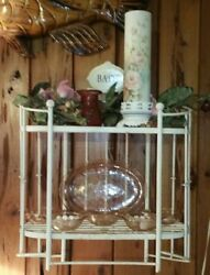 Vintage Country French Chic Shabby Bathroom Shelf Chippy Painted Metal