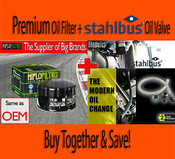 Premium Oil Filter And Stahlbus Oil Drain Valve - Hf164- Bmw R 1200 Rt Abs - 2006