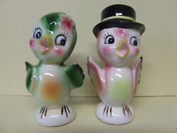 Vhtf Vintage Norcrest Bird Couple W/flower And Top Hat Salt And Pepper Shakers