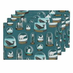 Cloth Placemats Arctic Animals Climate Change Snowglobes Narwhal Whale Set of 4