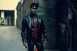 Genuine Leather Fitted Biker Jacket With Quilted Shoulders Cross Stitch Moto Men