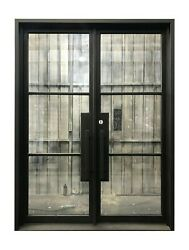 Archer Double Front Entry Wrought Iron Door Water Glass 72