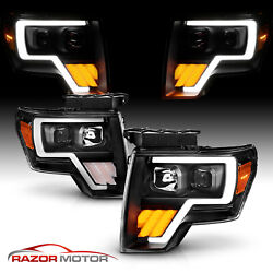 For 09-14 Ford F150 Pickup G3 Black Led Plank Projector Headlights W/ Led Signal
